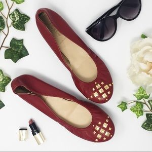 J. CREW Cece red leather ballet flats gold studs
